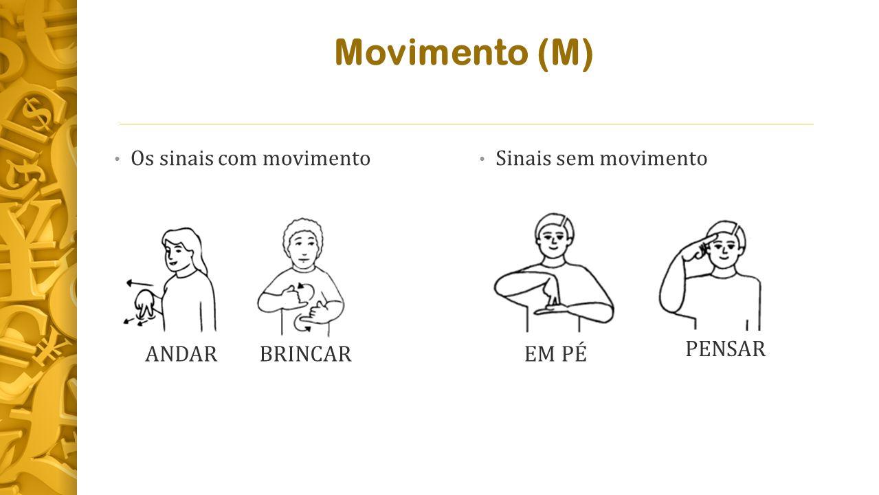 Movimento (M) Os sinais com movimento Sinais sem movimento ANDARBRINCAREM PÉ PENSAR