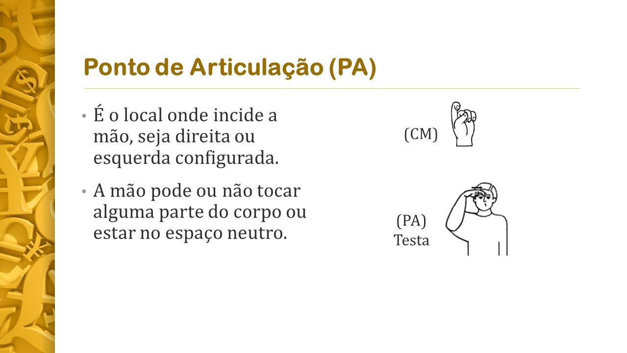 Ponto de Articulação (PA) É o local onde incide a mão, seja direita ou esquerda configurada.