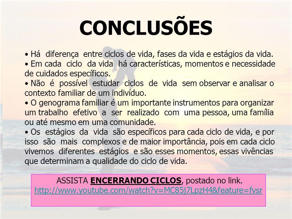 CONCLUSÕES ASSISTA ENCERRANDO CICLOS, postado no link. http://www.youtube.com/watch?v=MC85j7LpzH4&feature=fvsr Há diferença entre ciclos de vida, fase