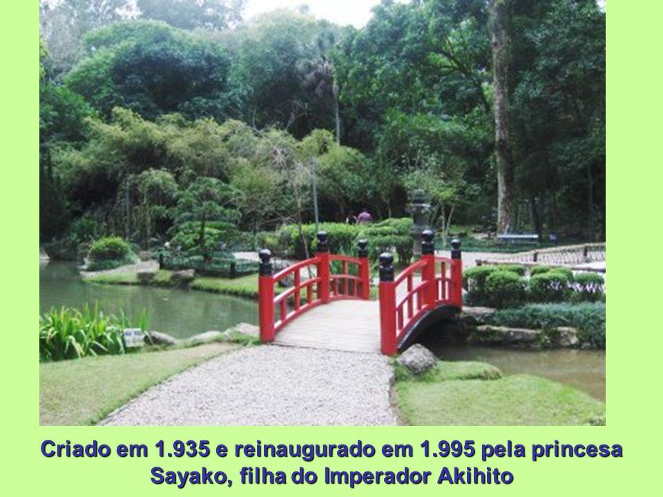 Jardim Japonês Criado em 1.935, a partir de uma doação de 65 espécies de plantas típicas do Japão, feita pela Missão Econômica Japonesa, que à época v