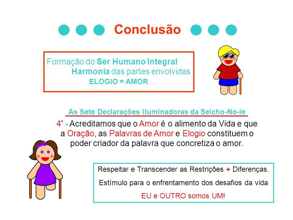 Conclusão Formação do Ser Humano Integral Harmonia das partes envolvidas ELOGIO = AMOR As Sete Declarações Iluminadoras da Seicho-No-Ie 4 ª - Acredita