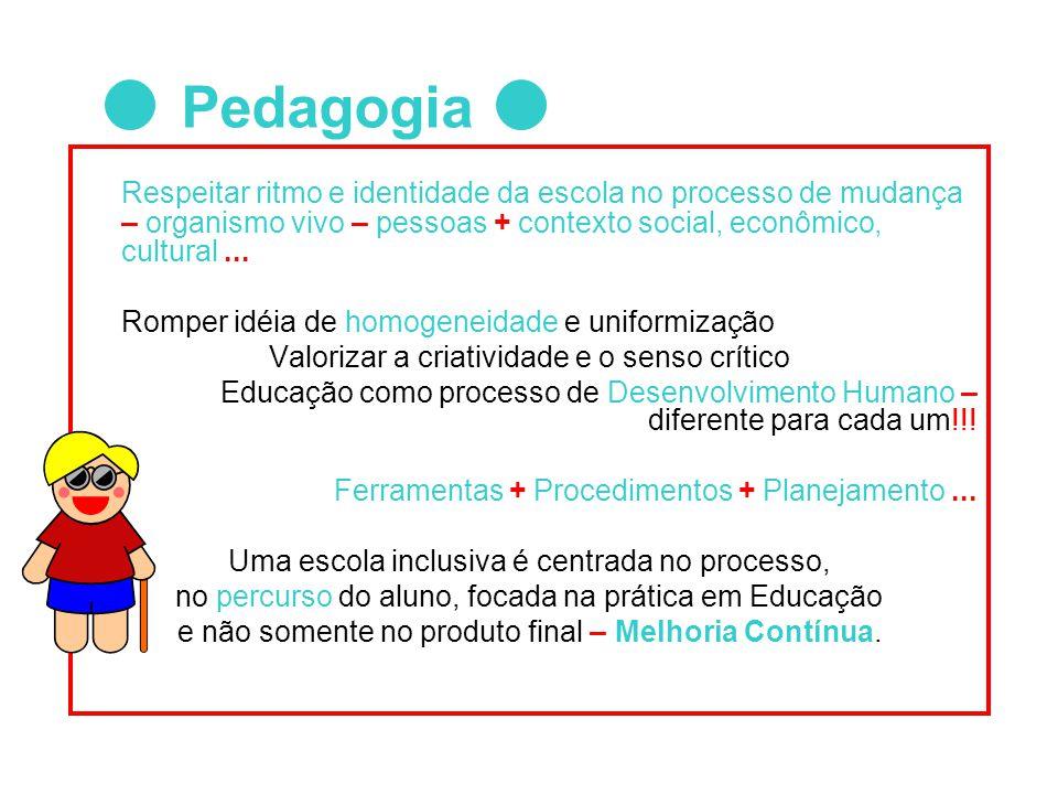 Respeitar ritmo e identidade da escola no processo de mudança – organismo vivo – pessoas + contexto social, econômico, cultural... Romper idéia de hom