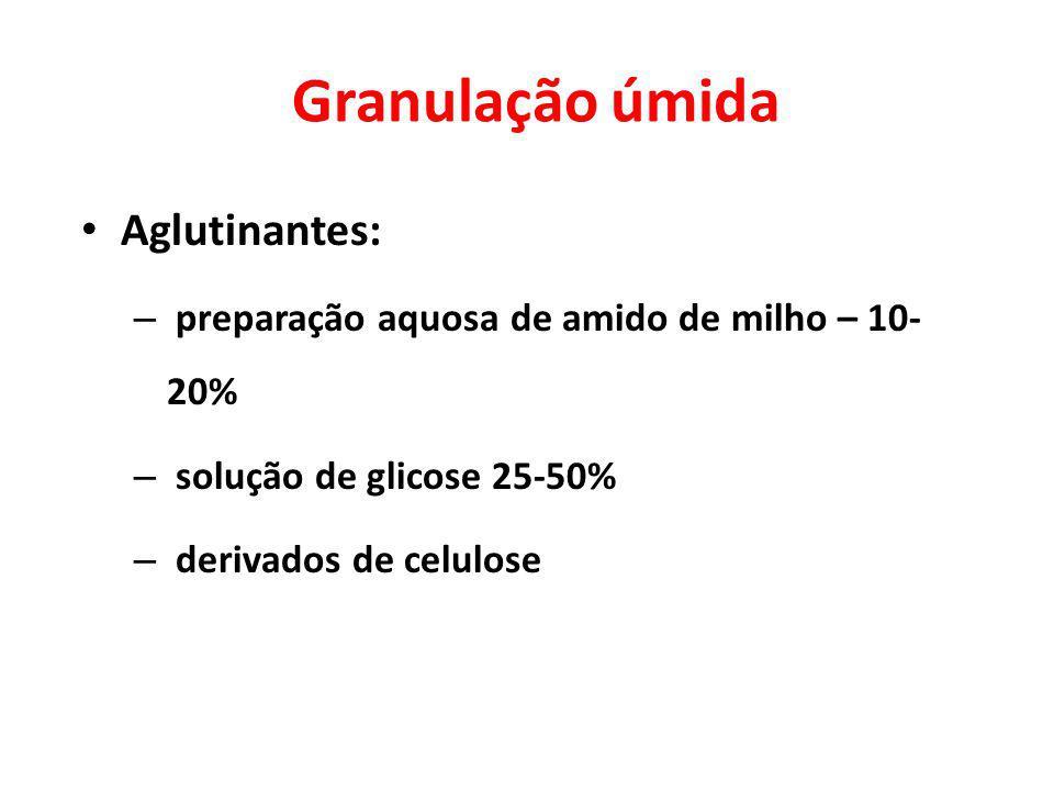 Aglutinantes: – preparação aquosa de amido de milho – 10- 20% – solução de glicose 25-50% – derivados de celulose