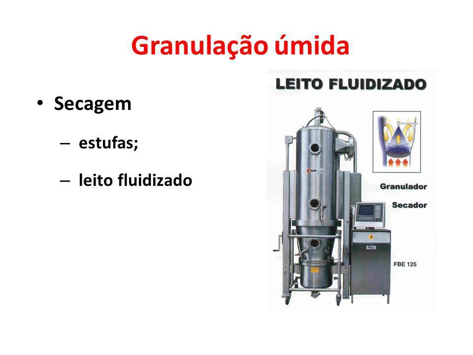 Granulação úmida Secagem – estufas; – leito fluidizado