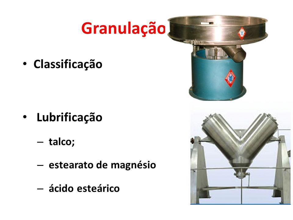 Granulação úmida Classificação Lubrificação – talco; – estearato de magnésio – ácido esteárico