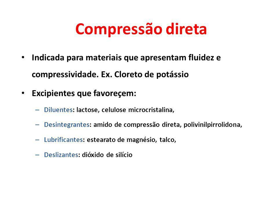 Compressão direta Indicada para materiais que apresentam fluidez e compressividade. Ex. Cloreto de potássio Excipientes que favoreçem: – Diluentes: la