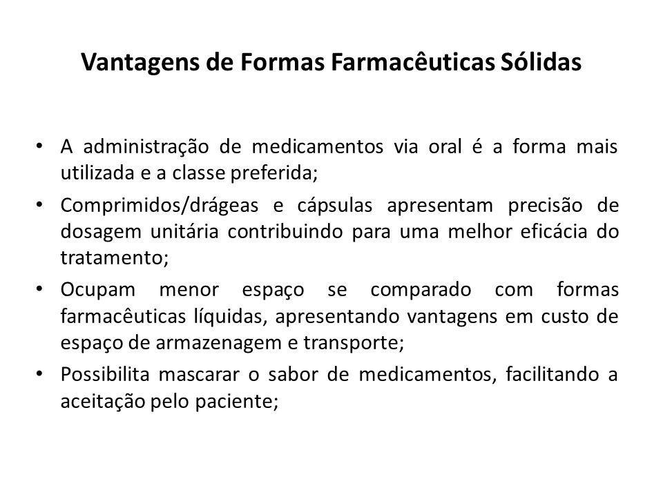 Vantagens de Formas Farmacêuticas Sólidas A administração de medicamentos via oral é a forma mais utilizada e a classe preferida; Comprimidos/drágeas