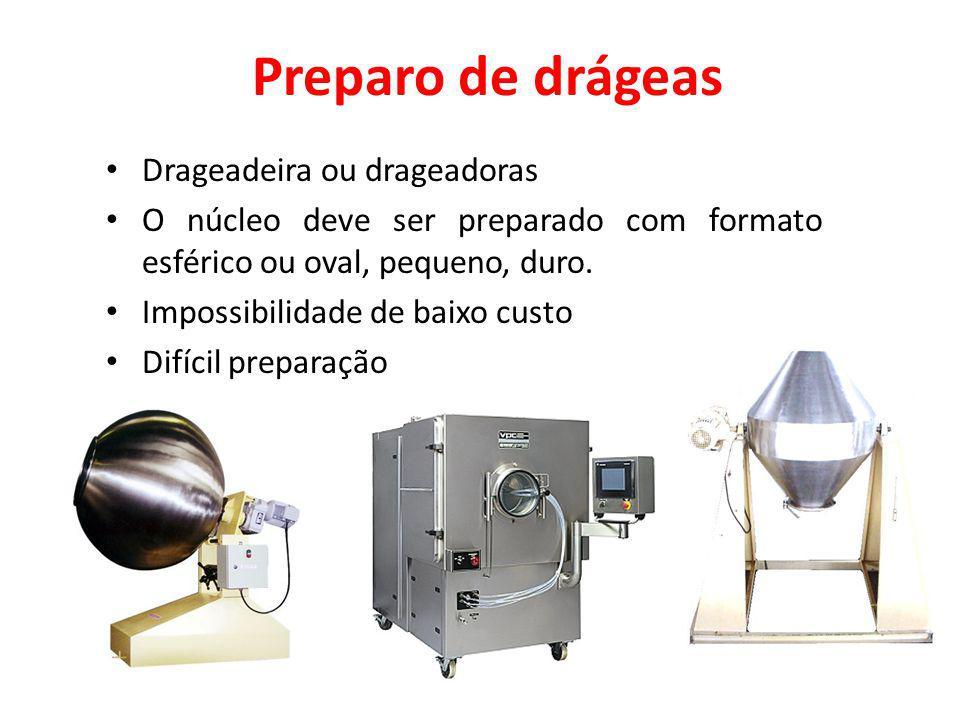 Preparo de drágeas Drageadeira ou drageadoras O núcleo deve ser preparado com formato esférico ou oval, pequeno, duro. Impossibilidade de baixo custo