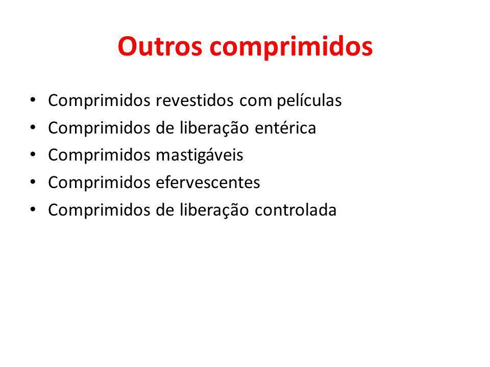Outros comprimidos Comprimidos revestidos com películas Comprimidos de liberação entérica Comprimidos mastigáveis Comprimidos efervescentes Comprimidos de liberação controlada