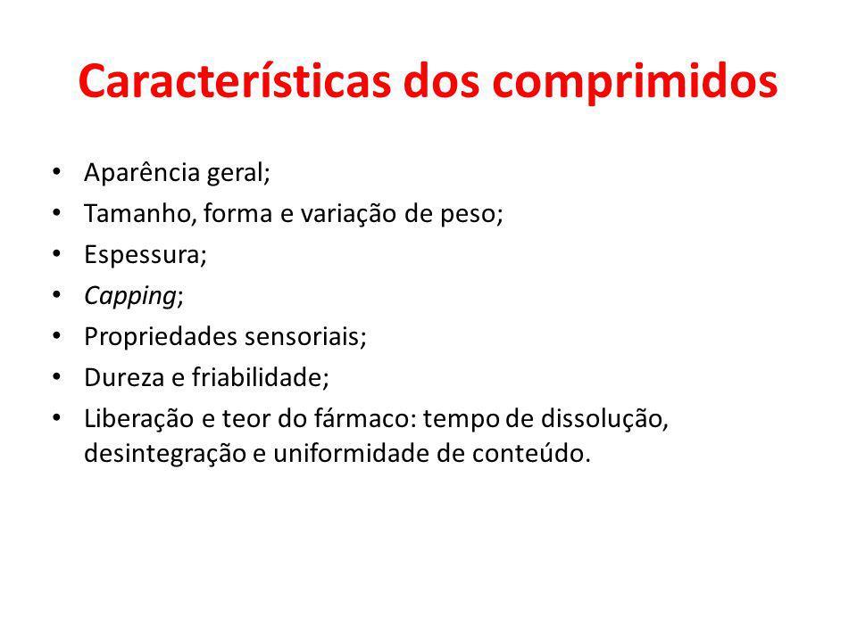Características dos comprimidos Aparência geral; Tamanho, forma e variação de peso; Espessura; Capping; Propriedades sensoriais; Dureza e friabilidade
