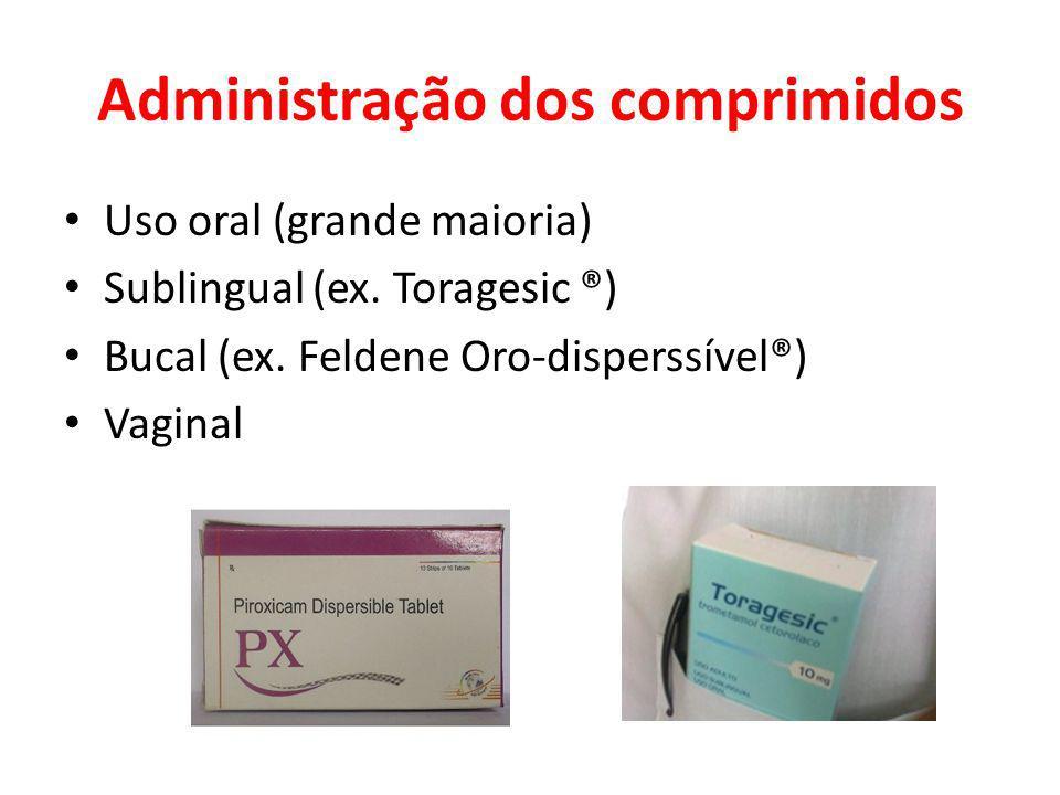 Administração dos comprimidos Uso oral (grande maioria) Sublingual (ex. Toragesic ®) Bucal (ex. Feldene Oro-disperssível®) Vaginal