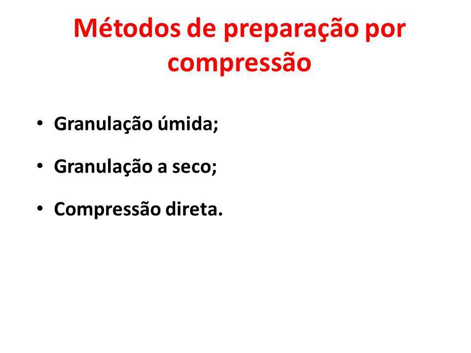 Métodos de preparação por compressão Granulação úmida; Granulação a seco; Compressão direta.