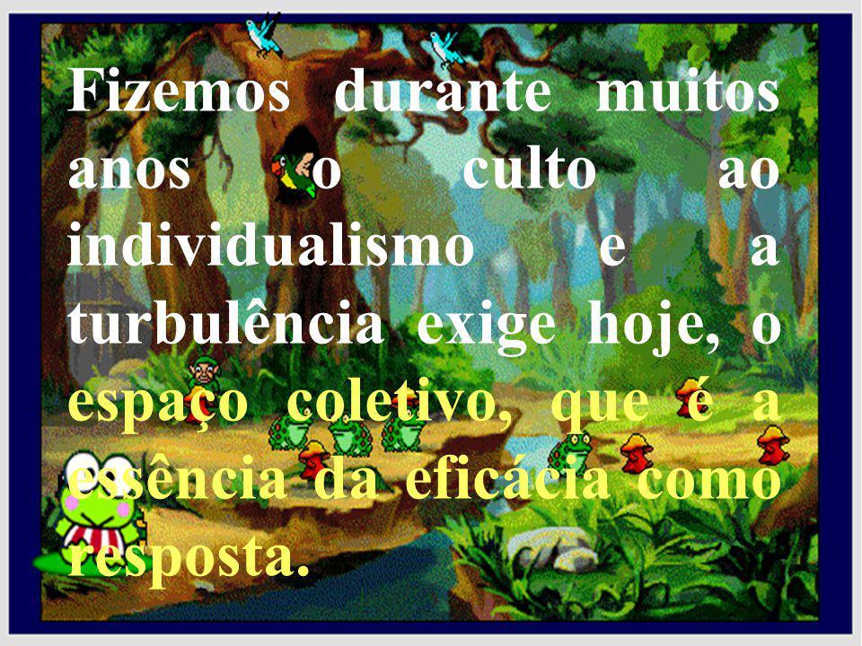 Fizemos durante muitos anos o culto ao individualismo e a turbulência exige hoje, o espaço coletivo, que é a essência da eficácia como resposta.