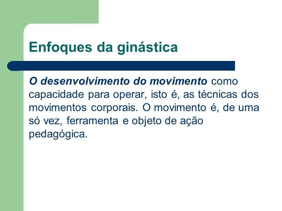 Enfoques da ginástica O desenvolvimento do movimento como capacidade para operar, isto é, as técnicas dos movimentos corporais. O movimento é, de uma