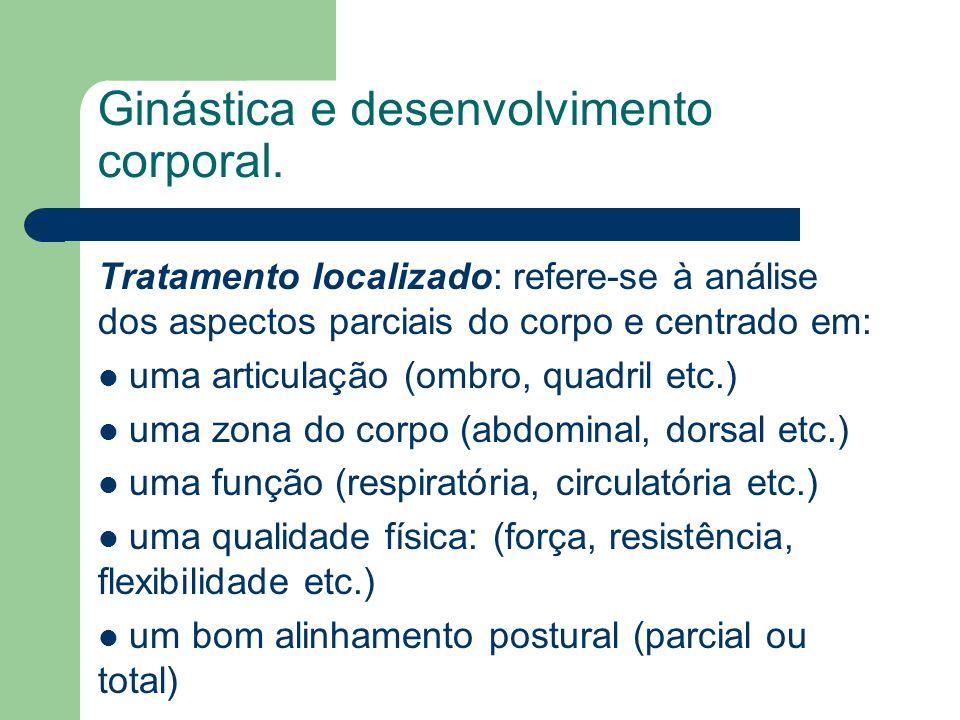 Ginástica e desenvolvimento corporal. Tratamento localizado: refere-se à análise dos aspectos parciais do corpo e centrado em: uma articulação (ombro,