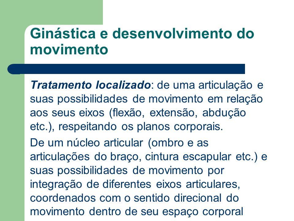 Ginástica e desenvolvimento do movimento Tratamento localizado: de uma articulação e suas possibilidades de movimento em relação aos seus eixos (flexã