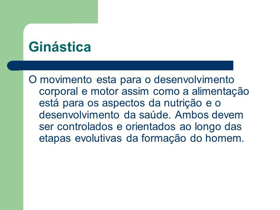 Ginástica O movimento esta para o desenvolvimento corporal e motor assim como a alimentação está para os aspectos da nutrição e o desenvolvimento da s