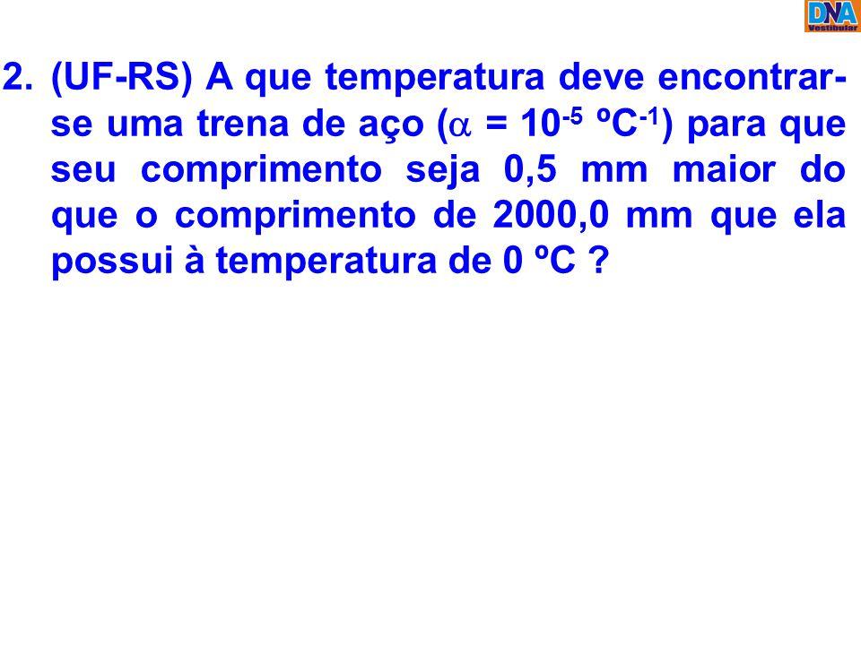 2.(UF-RS) A que temperatura deve encontrar- se uma trena de aço (  = 10 -5 ºC -1 ) para que seu comprimento seja 0,5 mm maior do que o comprimento de