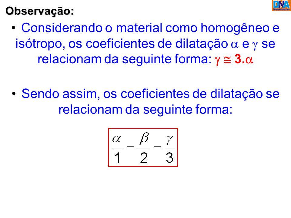 Observação: Considerando o material como homogêneo e isótropo, os coeficientes de dilatação  e  se relacionam da seguinte forma:   3.  Sendo as