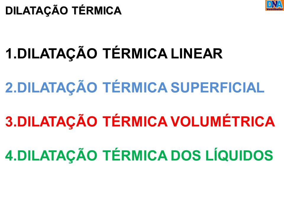 DILATAÇÃO TÉRMICA 1.DILATAÇÃO TÉRMICA LINEAR 2.DILATAÇÃO TÉRMICA SUPERFICIAL 3.DILATAÇÃO TÉRMICA VOLUMÉTRICA 4.DILATAÇÃO TÉRMICA DOS LÍQUIDOS