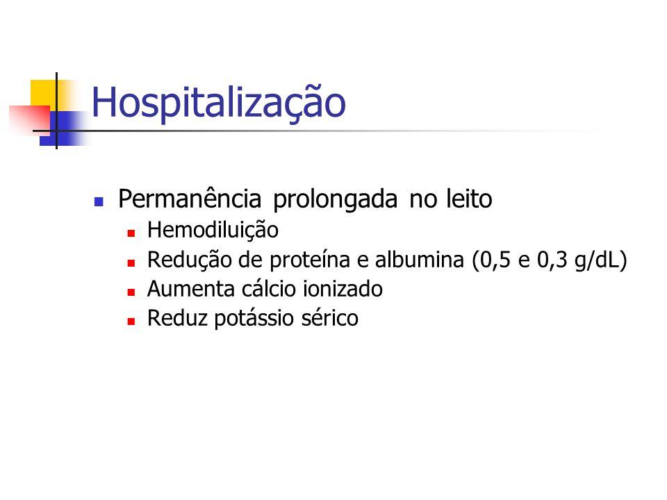 Hospitalização Permanência prolongada no leito Hemodiluição Redução de proteína e albumina (0,5 e 0,3 g/dL) Aumenta cálcio ionizado Reduz potássio sér