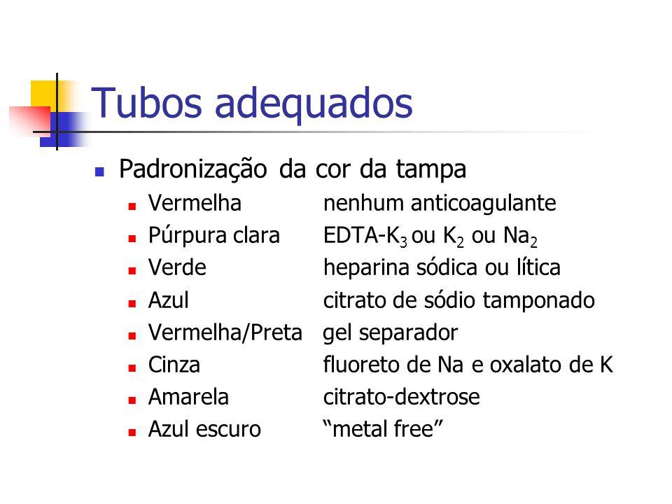 Tubos adequados Padronização da cor da tampa Vermelha nenhum anticoagulante Púrpura clara EDTA-K 3 ou K 2 ou Na 2 Verde heparina sódica ou lítica Azul