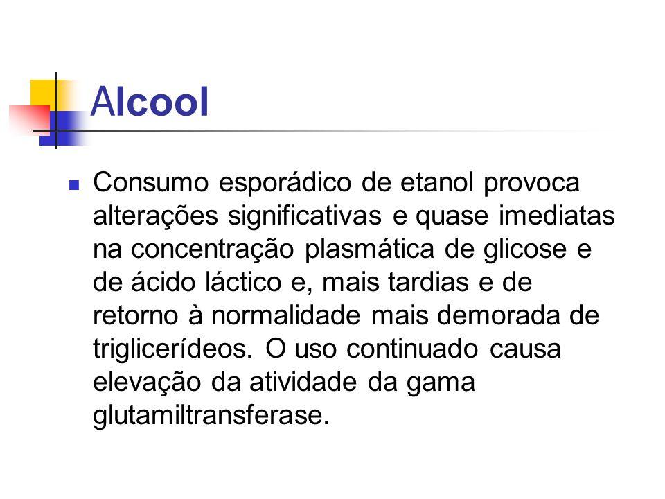 A lcool Consumo esporádico de etanol provoca alterações significativas e quase imediatas na concentração plasmática de glicose e de ácido láctico e, m