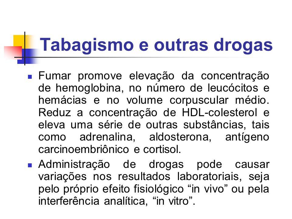 Tabagismo e outras drogas Fumar promove elevação da concentração de hemoglobina, no número de leucócitos e hemácias e no volume corpuscular médio. Red