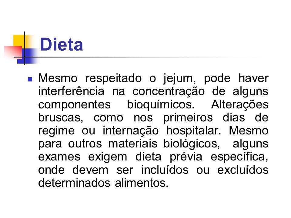 Dieta Mesmo respeitado o jejum, pode haver interferência na concentração de alguns componentes bioquímicos. Alterações bruscas, como nos primeiros dia
