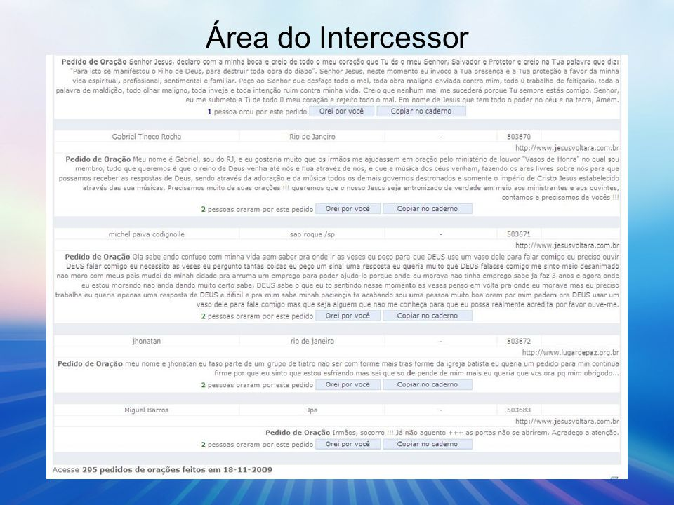 Área do Intercessor