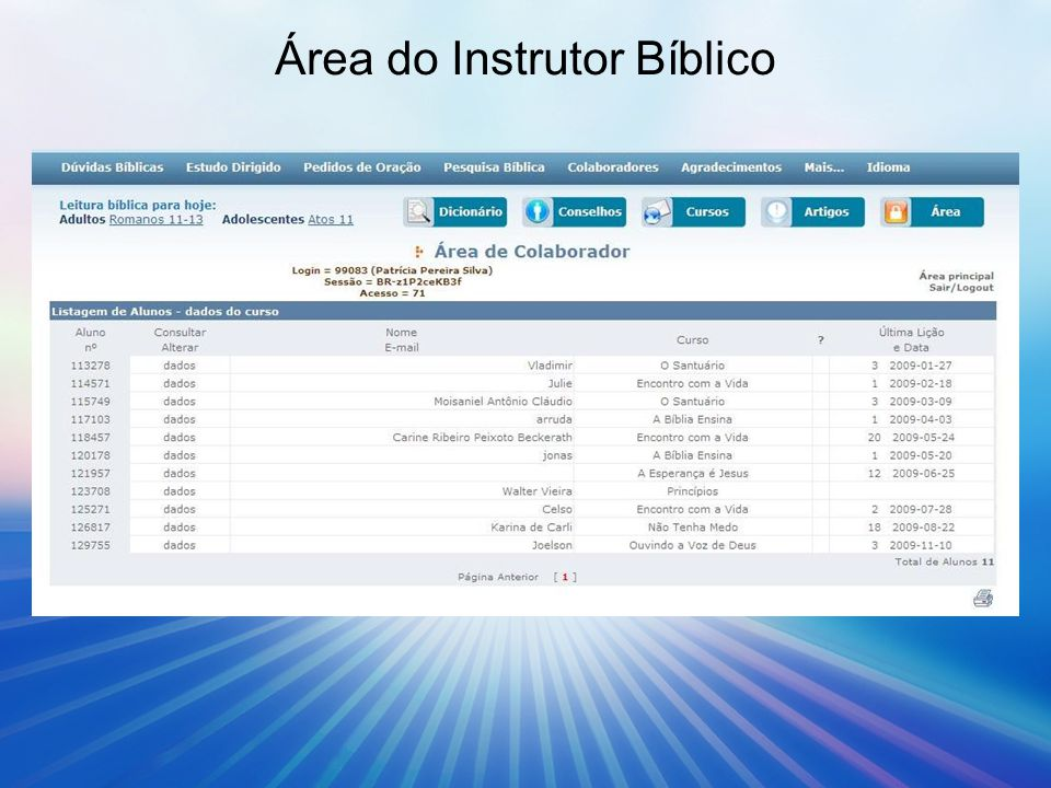 Área do Instrutor Bíblico