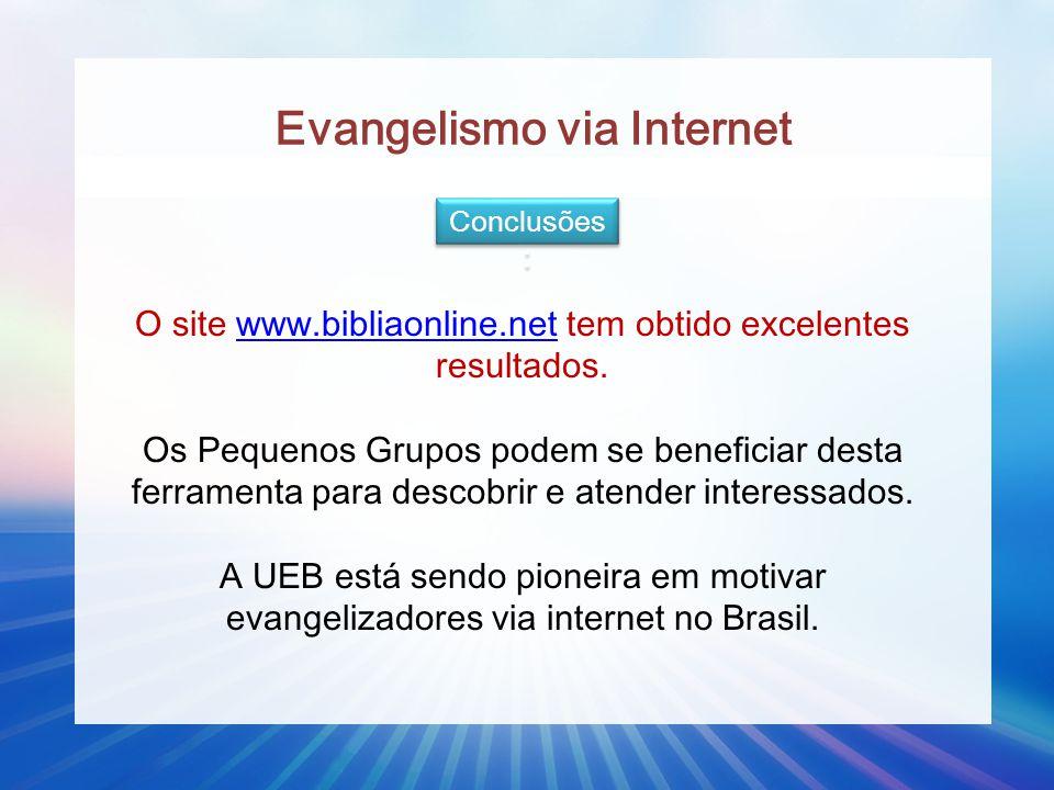 Evangelismo via Internet Conclusões : O site www.bibliaonline.net tem obtido excelentes resultados. Os Pequenos Grupos podem se beneficiar desta ferra