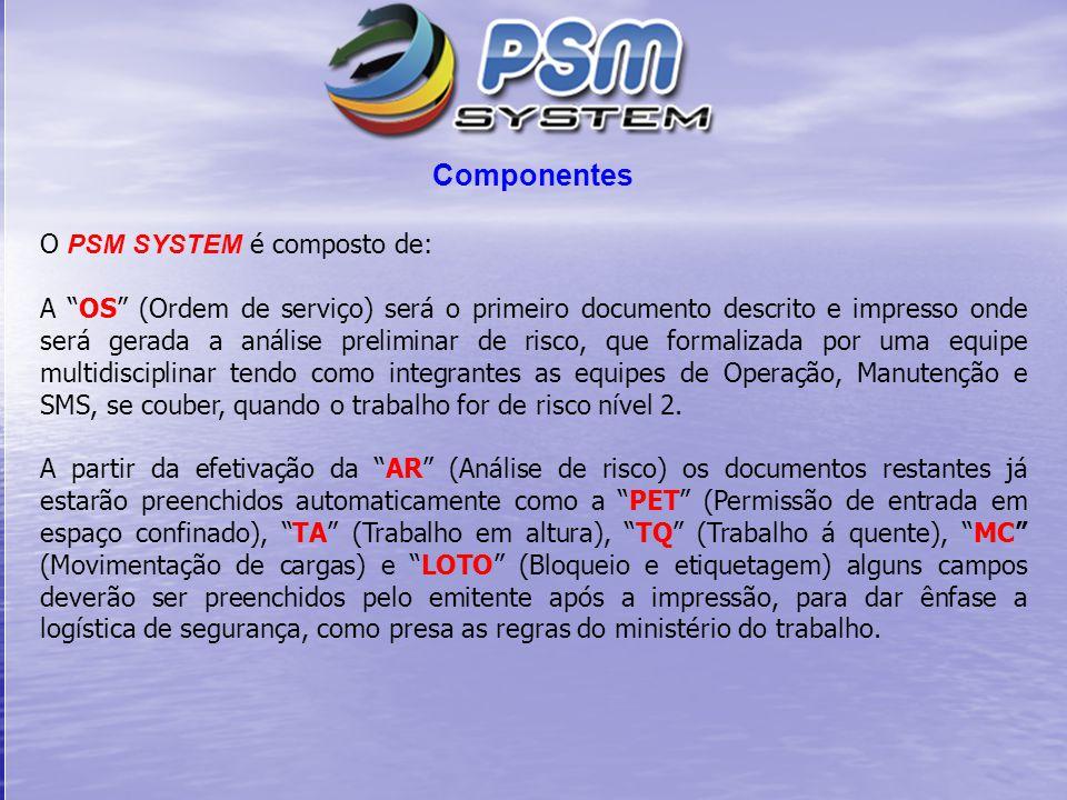 Componentes O PSM SYSTEM é composto de: A OS (Ordem de serviço) será o primeiro documento descrito e impresso onde será gerada a análise preliminar de risco, que formalizada por uma equipe multidisciplinar tendo como integrantes as equipes de Operação, Manutenção e SMS, se couber, quando o trabalho for de risco nível 2.