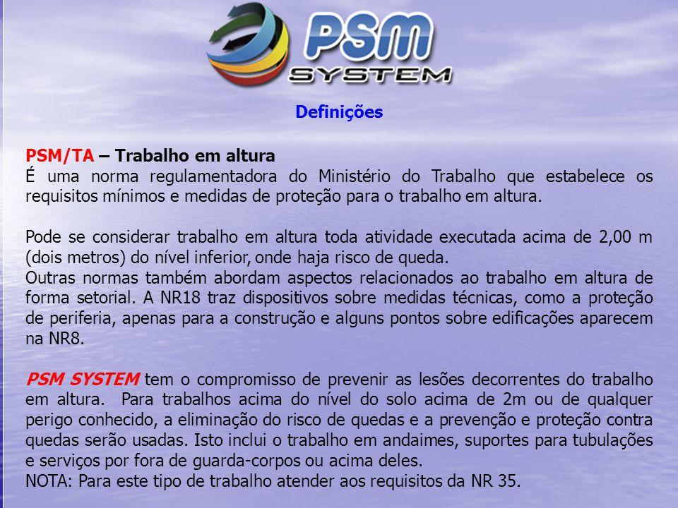 Definições PSM/TA – Trabalho em altura É uma norma regulamentadora do Ministério do Trabalho que estabelece os requisitos mínimos e medidas de proteçã