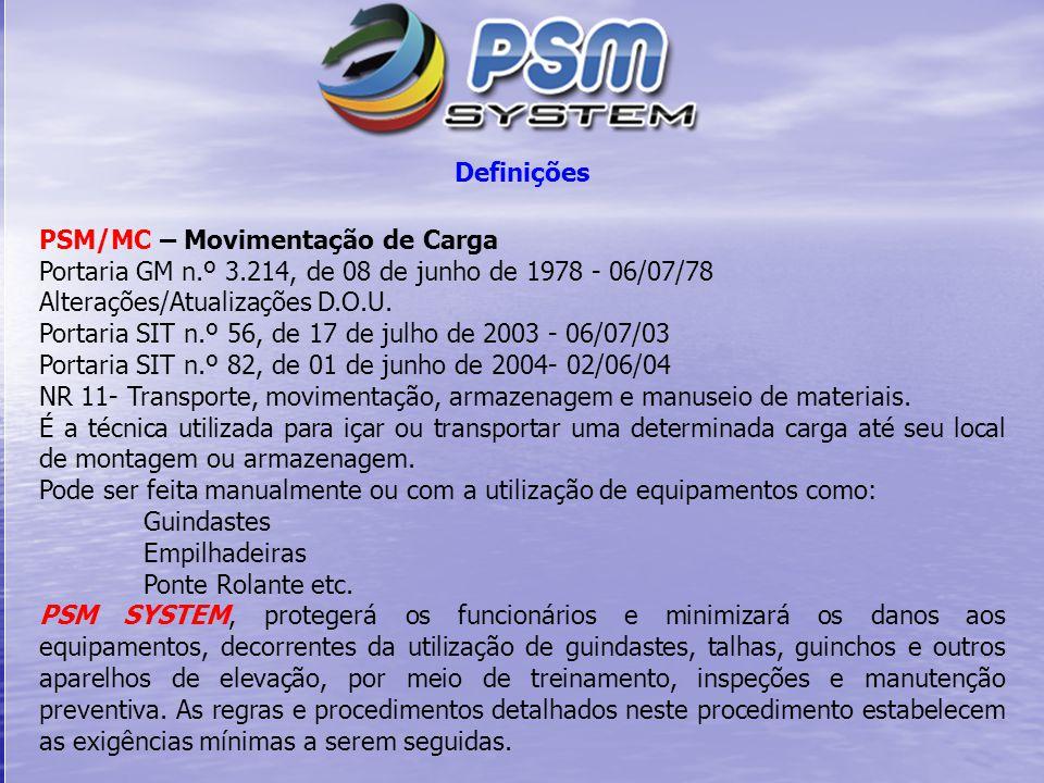 Definições PSM/MC – Movimentação de Carga Portaria GM n.º 3.214, de 08 de junho de 1978 - 06/07/78 Alterações/Atualizações D.O.U. Portaria SIT n.º 56,
