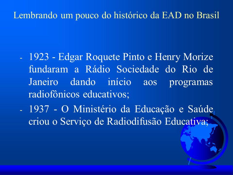 Lembrando um pouco do histórico da EAD no Brasil - 1923 - Edgar Roquete Pinto e Henry Morize fundaram a Rádio Sociedade do Rio de Janeiro dando início