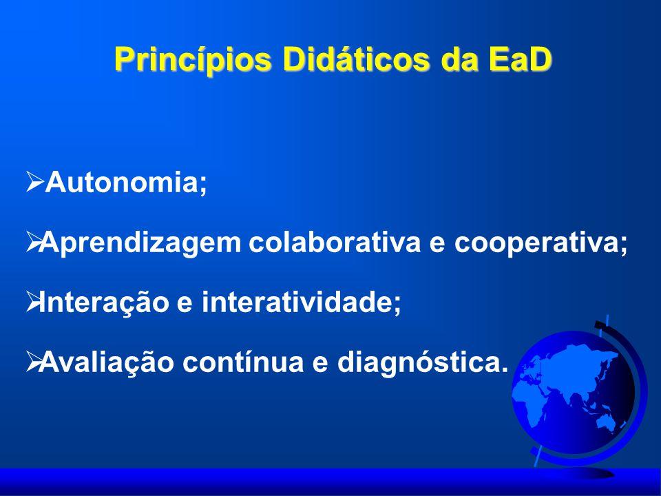 Princípios Didáticos da EaD  Autonomia;  Aprendizagem colaborativa e cooperativa;  Interação e interatividade;  Avaliação contínua e diagnóstica.