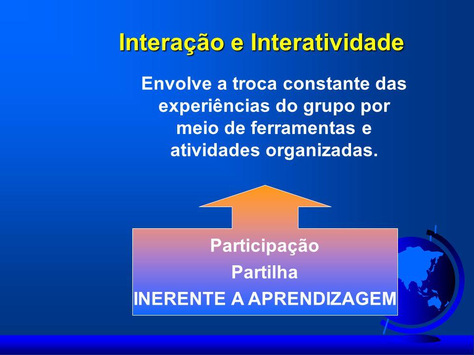 Interação e Interatividade Envolve a troca constante das experiências do grupo por meio de ferramentas e atividades organizadas. Participação Partilha