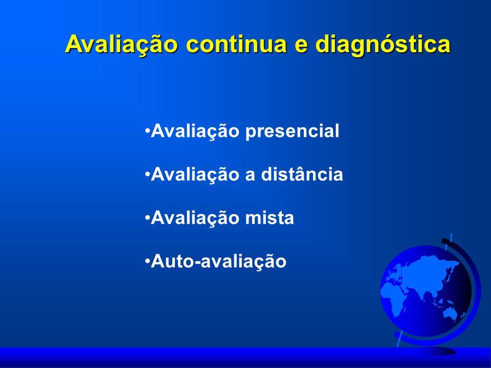 Avaliação continua e diagnóstica Avaliação presencial Avaliação a distância Avaliação mista Auto-avaliação