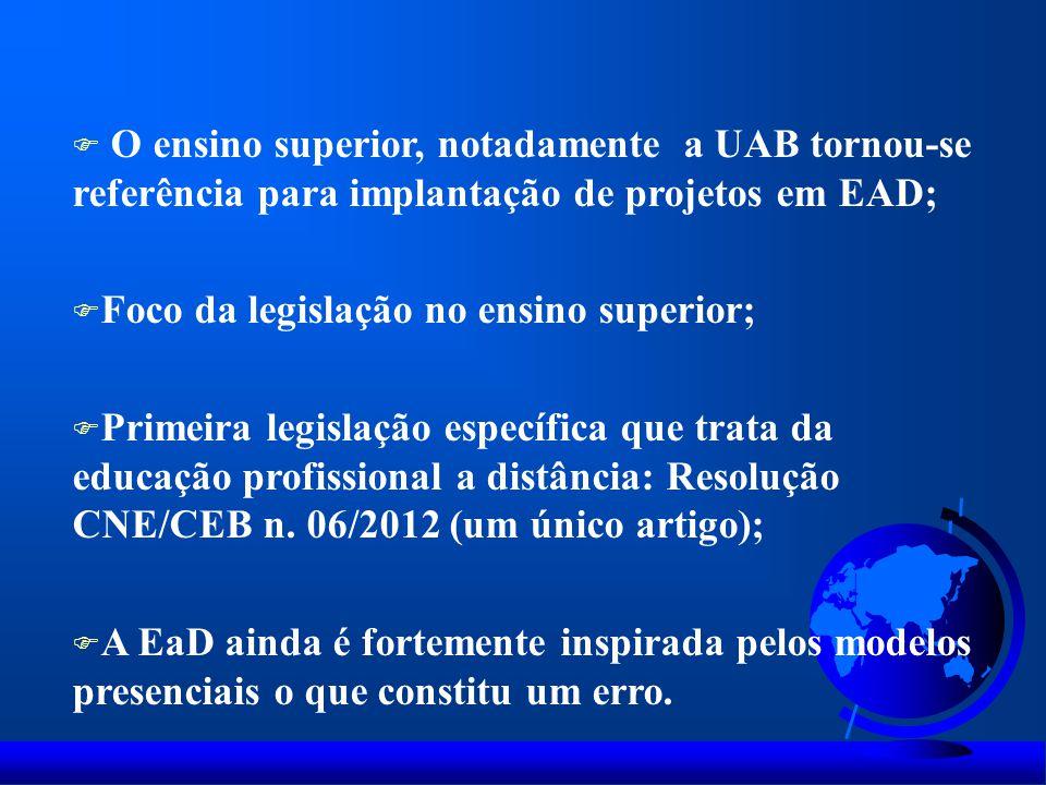 F O ensino superior, notadamente a UAB tornou-se referência para implantação de projetos em EAD; F Foco da legislação no ensino superior; F Primeira l