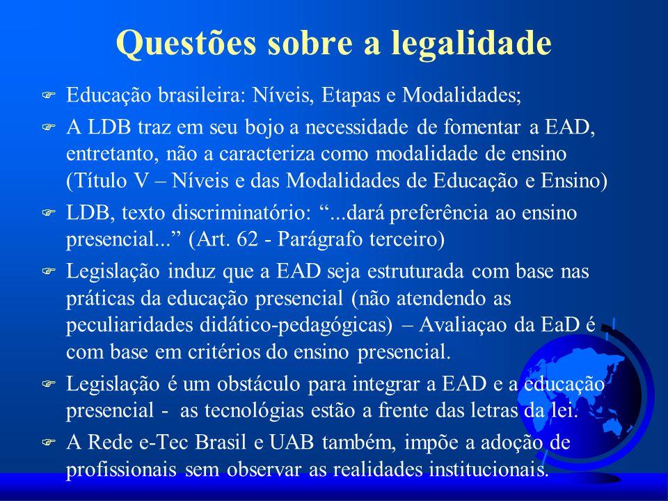 Questões sobre a legalidade F Educação brasileira: Níveis, Etapas e Modalidades; F A LDB traz em seu bojo a necessidade de fomentar a EAD, entretanto,