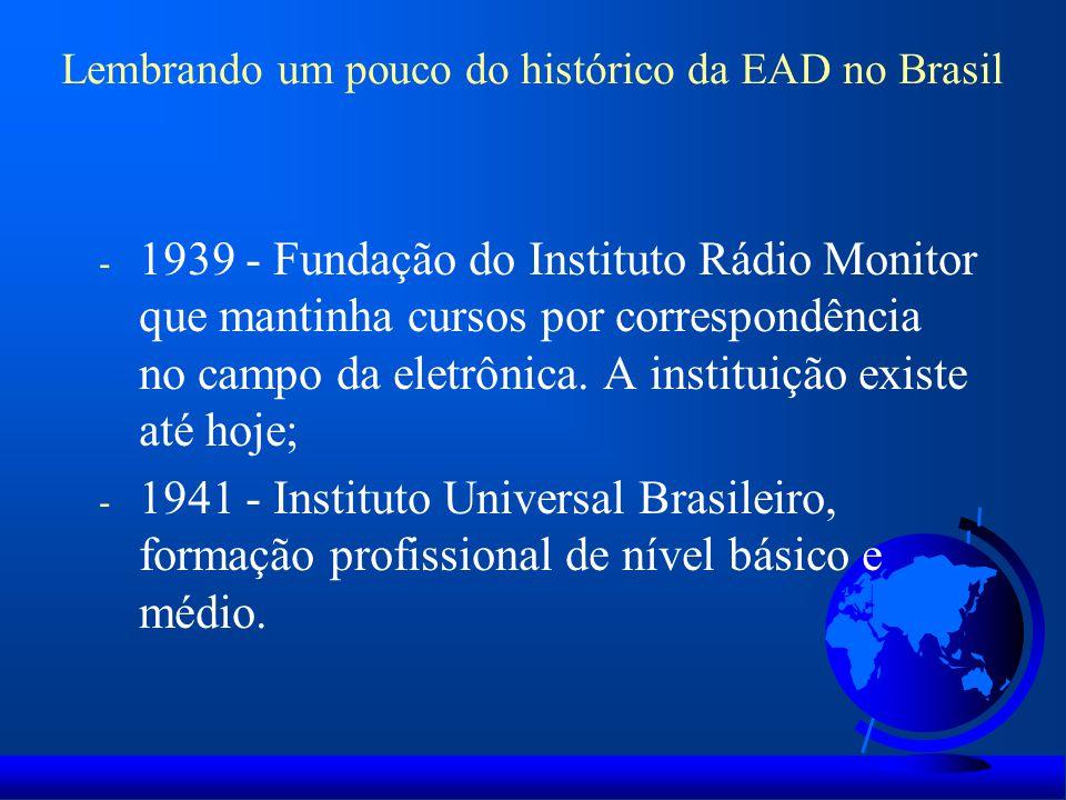 - 1943 - A Escola Rádio-Postal A Voz da Profecia oferecia, com apoio da Igreja Adventista, cursos bíblicos por correspondência; - 1946 - O SENAC iniciou suas atividades e desenvolveu a Universidade do Ar em 1950; - Projeto Minerva (1970); - 2006 – MEC – Programa Universidade Aberta do Brasil – UAB; - 2007 – MEC – Programa e-Tec Brasil Lembrando um pouco do histórico da EAD no Brasil