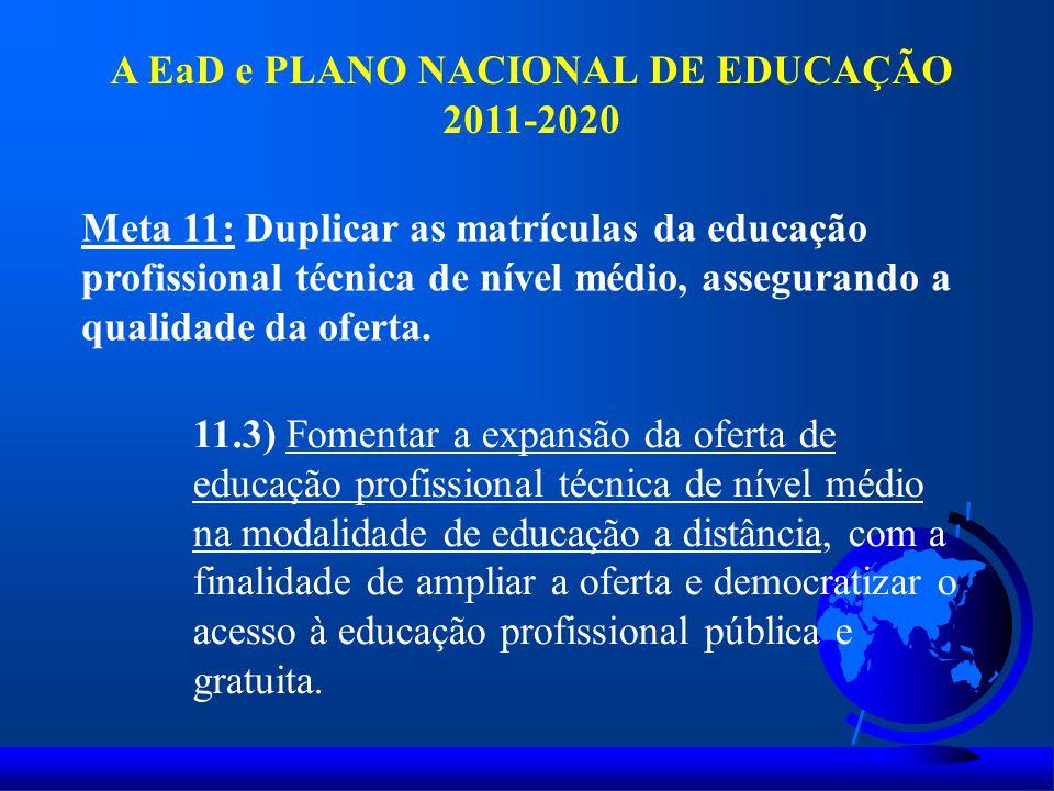 A EaD e PLANO NACIONAL DE EDUCAÇÃO 2011-2020 Meta 11: Duplicar as matrículas da educação profissional técnica de nível médio, assegurando a qualidade