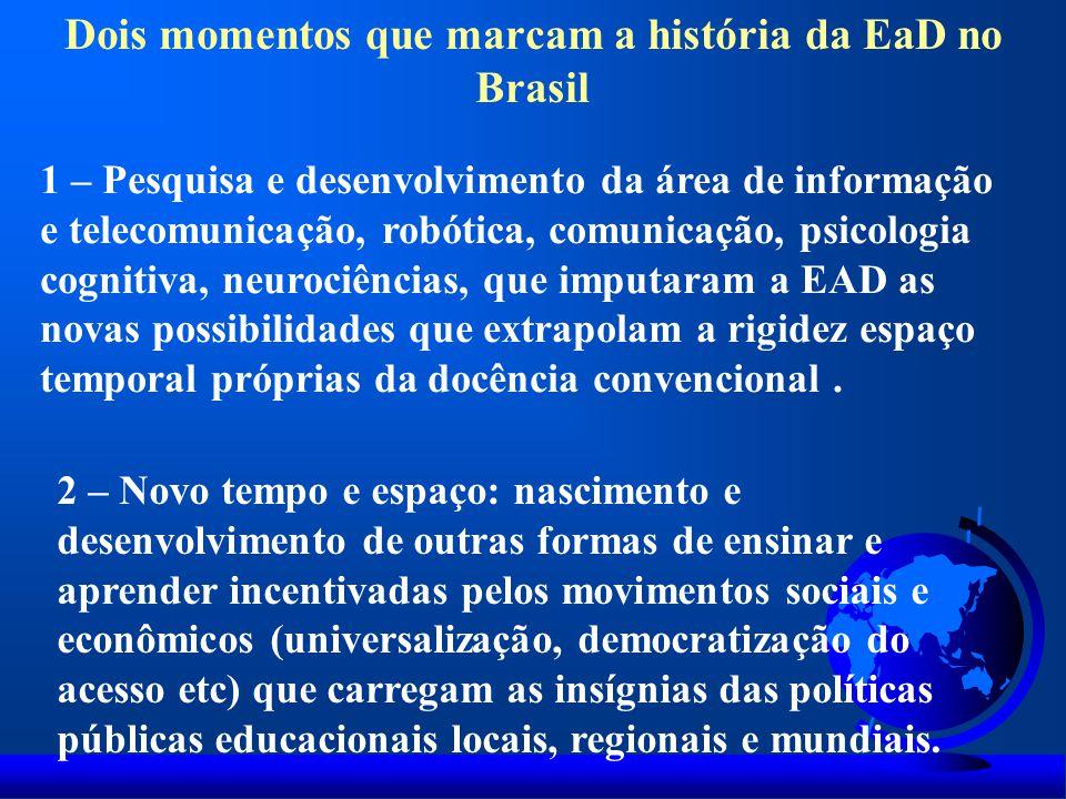 Dois momentos que marcam a história da EaD no Brasil 1 – Pesquisa e desenvolvimento da área de informação e telecomunicação, robótica, comunicação, ps