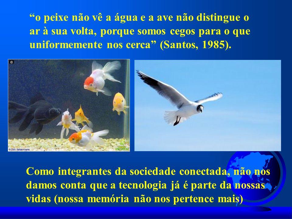 """""""o peixe não vê a água e a ave não distingue o ar à sua volta, porque somos cegos para o que uniformemente nos cerca"""" (Santos, 1985). Como integrantes"""