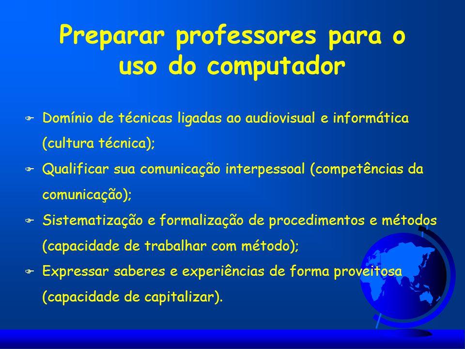 Preparar professores para o uso do computador F Domínio de técnicas ligadas ao audiovisual e informática (cultura técnica); F Qualificar sua comunicaç