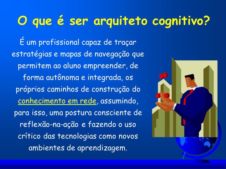 O que é ser arquiteto cognitivo? É um profissional capaz de traçar estratégias e mapas de navegação que permitem ao aluno empreender, de forma autônom