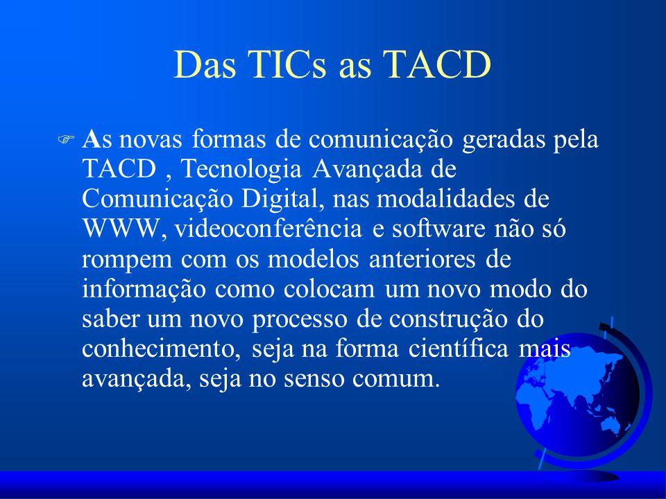 Das TICs as TACD F As novas formas de comunicação geradas pela TACD ' Tecnologia Avançada de Comunicação Digital, nas modalidades de WWW, videoconferê