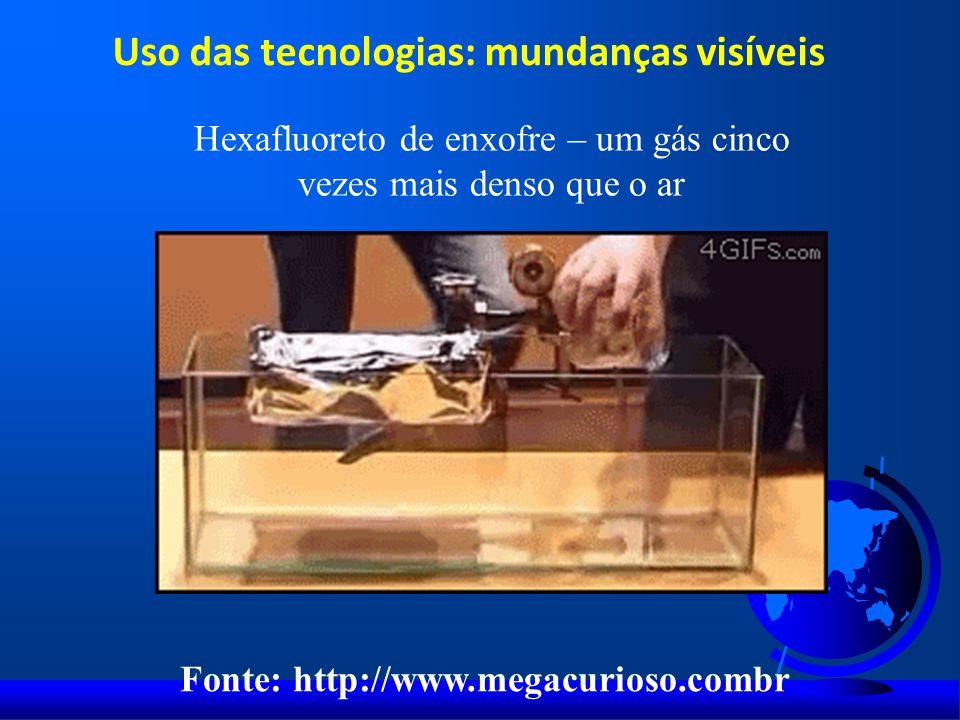 Uso das tecnologias: mundanças visíveis Hexafluoreto de enxofre – um gás cinco vezes mais denso que o ar Fonte: http://www.megacurioso.combr