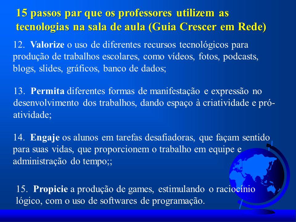 12. Valorize o uso de diferentes recursos tecnológicos para produção de trabalhos escolares, como vídeos, fotos, podcasts, blogs, slides, gráficos, ba